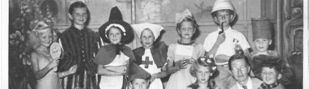 All the kids in fancy dress at the holiday camp 1953 - the mermaid won